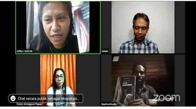 "Buku antologi puisi Manfred Kudiai yang berjudul ""Jalan Pemberontak"" diluncurkan secara daring pada Jumat (26/2/2021). - Jubi/Hengky Yeimo"